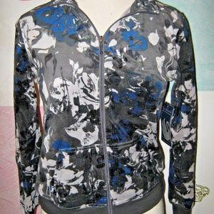 Gray Blue Floral Velvet Pouch Pocket Zip Jacket M